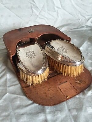 Sterling Silver Men's Repousse Brush Set  Birmingham Synyer & Beddoes 1913