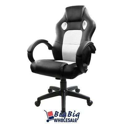 White/Black Swivel Leather Racing Seat Style Mesh Bucket Office Gaming Chair