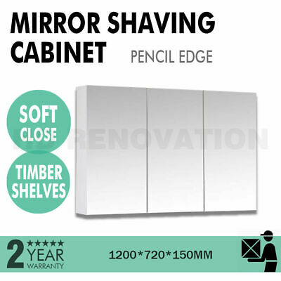 1200*720*150mm Mirror Shaving Cabinet Pencil Edge 2 Door Soft Close Timber Shelf