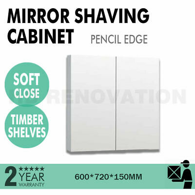 600*720*150mm Mirror Shaving Cabinet Pencil Edge 2 Door Soft Close Timber Shelf