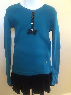 5d83eff0195 Adorable SONIA RYKIEL ENFANT Teal Ribbed Top with Black Bow Rhinstone  Buttons 6A