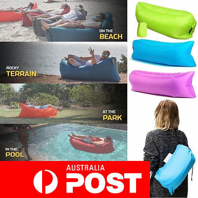 Inflatable Air Bag Lounge Sleeping bag Camping Bed Portable Outdoor Beach Sofa