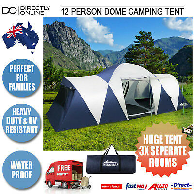 10 Man Person Large Dome Tent Camping 3 Divided Rooms Family Holiday Travel New