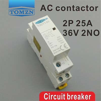 TOCT1 2P 25A 36V 50/60HZ Din rail Household ac contactor 2NO