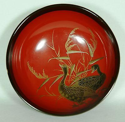 Japanese Old Lacquer Ware Wood Covered Soup Bowl Gold Makie Bird 1920s