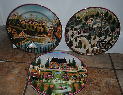 Set of 3 NEVER USED Salad Plates Block Country Village by Gear  1995