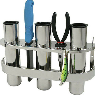 Marine Boat Fishing Outrigger Stainless Steel 3 Tube Rod Holder Tackle Rack Nice