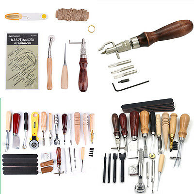 Various Pattern Leather Craft Punch Tools Kit Stitching Carving Working Sewing