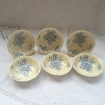 "6 Grindley ""Eileen"" Fruit Dishes/Bowls - Blue Flowers (381)"