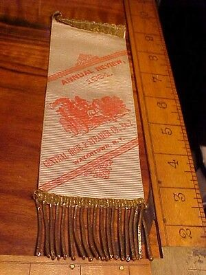 Rare 1800's Watertown N.y. Firemens Ribbon Annual Review Central Hose & Steamer