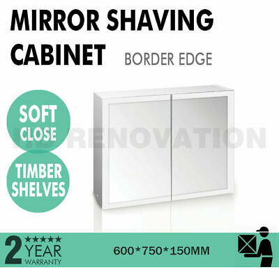 600*750*150mm Mirror Shaving Cabinet Framed Edge 2 Door Soft Close