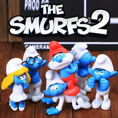 6Pcs Cute The Smurfs 2 Rotomolded PVC Action Figures Set Kid Toy Gift Home Decor
