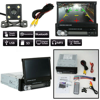 "7"" 1DIN HD Touch Screen Car Truck MP5 DVD Player Bluetooth Radio+Camera New"