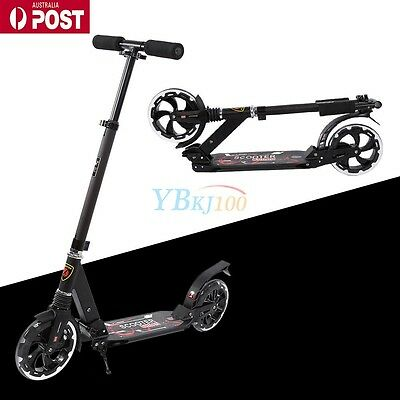 Folding Scooter Big Wheel Scooter With Suspension Adult Commuter Child Gifts BLK