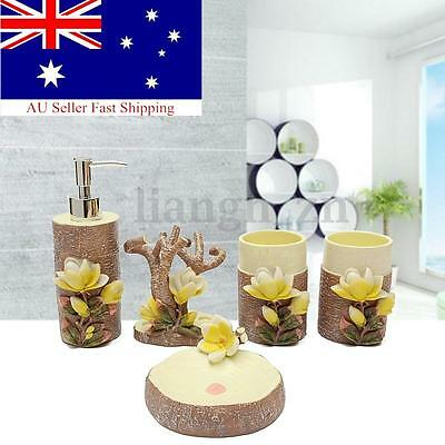 Magnolia Carved Creative Bathroom Accessories Sets Soap Holder Toothbrush Cup