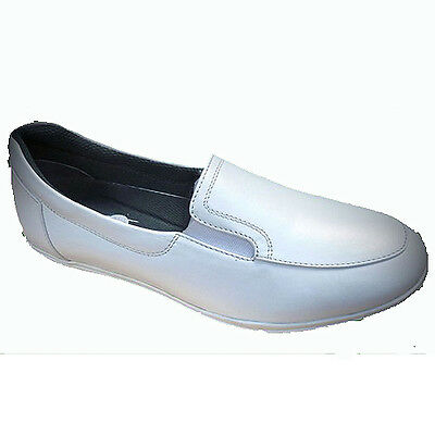 "EMSMORN ""ZARA"" LADIES SLIP-ON BOWLS SHOES - WHITE var.sizes.  FREE POSTAGE."