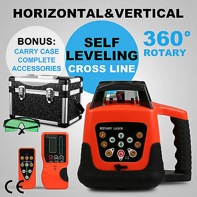Automatic Green Rotary Laser Level Self-Leveling Building W/case Outdoor
