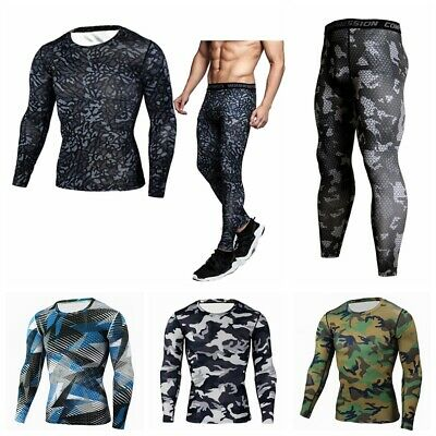 Men Compression Set Sports Apparel Skin Tights Base Under Layer T- Shirts Pants