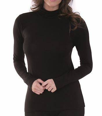 Womens Charnos Second Skin Thermal Wear Roll Neck Top 58239 Black