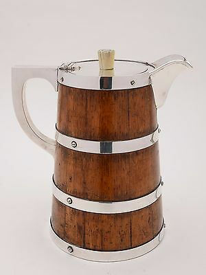 Oak and Silver Plated Water Jug/Pitcher, Circa 1890