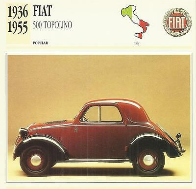 FIAT 500 TOPOLINO 1936 - 1955 original 2-sided Edito collector's trading card