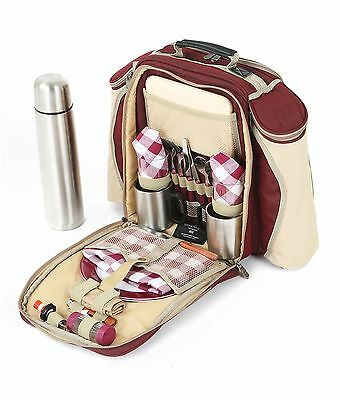 Greenfield Collection Super Deluxe 2 Person Picnic Backpack Hamper Mulberry Red