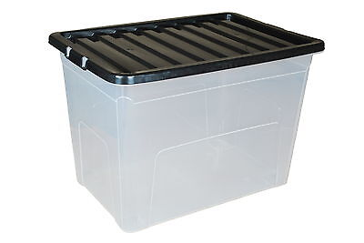 Pack of 4 x 75 Litre Plastic Storage Boxes with Black Lids - Large Stackable Box