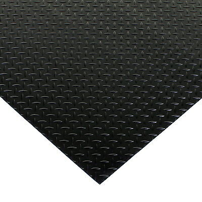 Black Rubber Flooring Matting Heavy Duty Floor Mat Garage Van Shed Diamond Plate