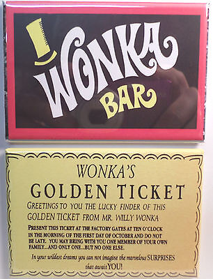 Wonka Bar Golden Ticket Vintage Candy Wrapper 2 X3 Fridge Or