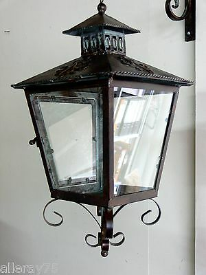 lovely French provincial  LANTERN and  bracket   garden cottage antique brown .