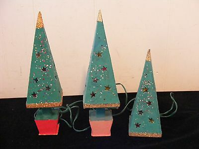 2 Vintage Mica Cardboard Lighted Christmas Trees & Extra Top ~  Japan