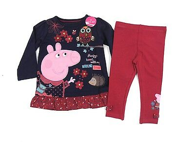 Peppa Pig Girls 2 Piece Outfit Set T-Shirt Leggings Woodland Friends 1 - 5 Years