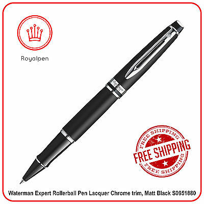 Waterman Expert Rollerball Pen Lacquer Chrome trim, Matt Black S0951880