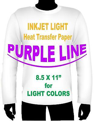 Purple Line Light Colors Ink Jet Heat Iron On Transfer Paper 8.5 X 11 -7 Sheets