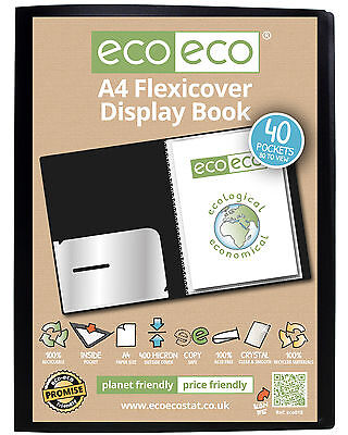 A5 Or A4 100% Recycled 'Ecoeco' Flexi-Cover Display Books With 20 Or 40 Pockets.