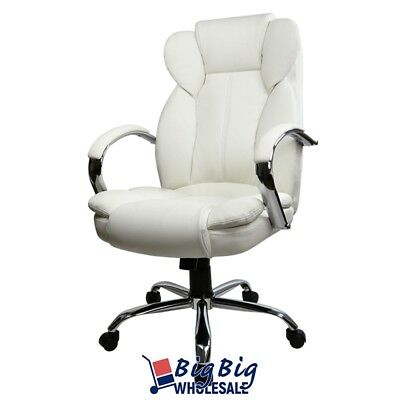 White Swivel PU Leather High Back Executive Office Desk Task Computer Chair