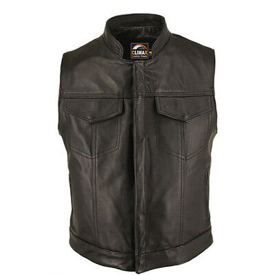 Mens 'Anarchy' Motorcycle Biker Waistcoat Full Real Leather Black Vest Jacket