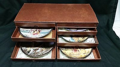 Set of 5 Franklin Mint Plates of Native Americans w/ drawer storage container