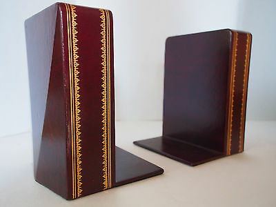 Pair (2) MCM Florentine Gold Gilt Genuine Red Leather HEAVY Book Ends Great FC