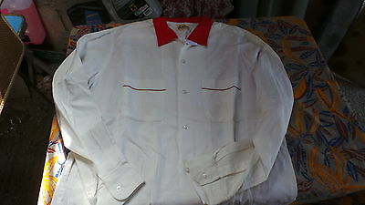 RARE CHEMISE BOWLING HILTON 40's 50's ROUGE ET BLANCHE T. LARGE MADE IN USA TBE