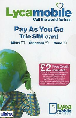 Lyca Mobile 3-in-1 Pay As You Go Sim card Standard / Micro / Nano 2G 3G 4G LTE