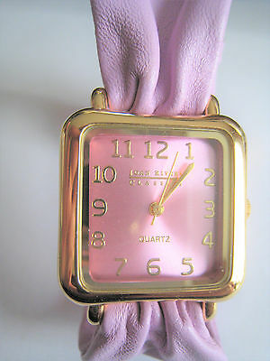 Joan Rivers Watch w/ Soft Leather Pink-Purple Band   ( needs baterries  )