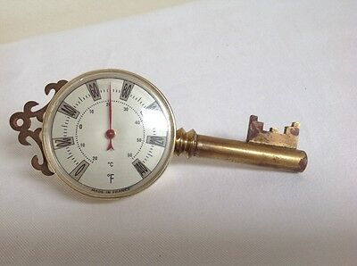 Vintage Collectable Brass Thermometer Key Design Made In France