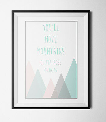 PERSONALISED Cute Mountain A4  Print Nursery decor new Baby Christening gift