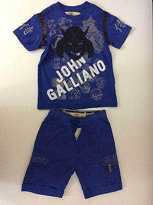 John Galliano Boys Outfit Size Age 6, Shorts And T Shirt, Blue, Gc