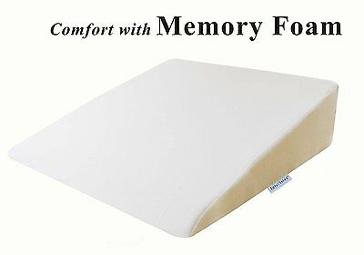 Pillow Wedge Memory Foam Elevate Bed Prop Aid Incline Support Breathing Cushion