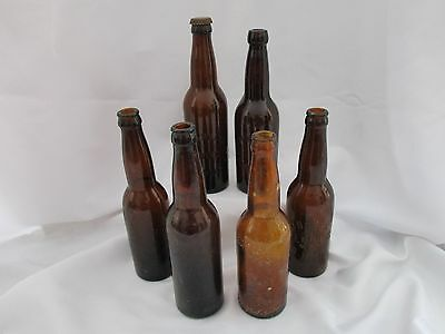 Vintage Collectible Amber Beer Bottle Lot of 6 Columbus Ohio Hoster Born & Co.