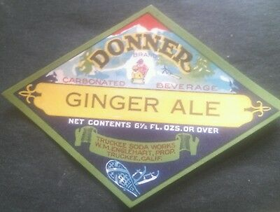 Vintage Donner Ginger Ale Soda Label Truckee California Kids sledding Winter