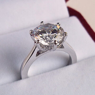 4.0ct Diamond Solitaire Engagement Ring Size K L M N Platinum Non Tarnish Finish