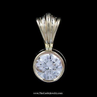 Stunning .40ct Round Brilliant Cut Diamond Solitaire Pendant in Yellow Gold